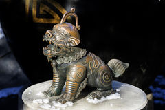 The little bronze lion statue Royalty Free Stock Image