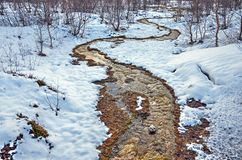 Warm stream in a cold landscape royalty free stock images