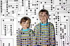 Little brother and sister, circuit, board, pro Royalty Free Stock Photo