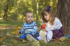 The little brother and sister love to spend time together. Little boy and a girl are playing outside. They enjoy a beautiful sunny autumn day in nature. The Royalty Free Stock Photo