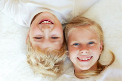 Little brother and sister together forever. Happy family. Stock Photo