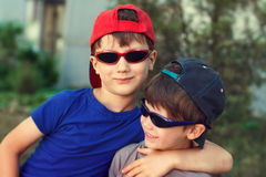 Little brothers in cap Royalty Free Stock Photography