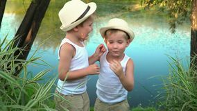 Little brothers go from the coast of the lake after fishing. Children cheerfully walk after rest on. Brothers are stock footage