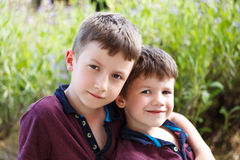 Little brothers outdoor portrait Stock Photo