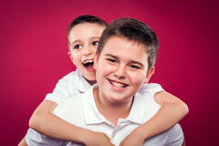 Little Brothers Smiling Stock Photo