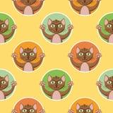 Little Brown-Katten Naadloos Patroon stock illustratie