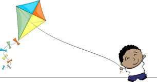 Little brown kid playing with kite Stock Photography