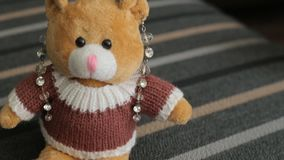 Little brown teddy bear, close-up stock video footage