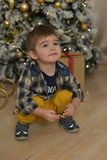 Little brunette boy in a plaid shirt near a Christmas tree. At Christmas royalty free stock photo