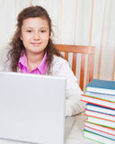 Little Brunette Smiling Girl With Laptop Stock Images