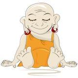 Little Buddha. Levitating, isolated character over white background Stock Image