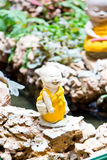 Little Buddha. Rock in Chinese Temple royalty free stock photos