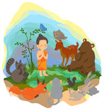 A little buddha is preaching truth to animals in t Royalty Free Stock Image