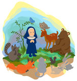A little nun is preaching truth to animals in t Stock Image