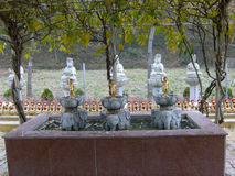 Little Buddha. Small statues of the Buddha standing in the bowl of lilies on the backs of elephants Royalty Free Stock Photos