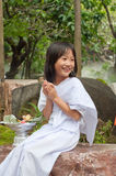 Little buddhist child in the white cloth Royalty Free Stock Image