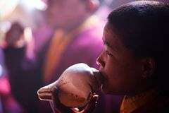 Little buddhist monk Stock Images