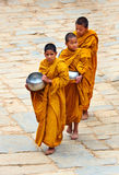 Little Buddhist monks in Bhaktapur Stock Images