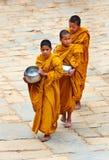 Little Buddhist monks in Bhaktapur Stock Images