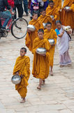 Little Buddhist monks in Bhaktapur Stock Photo