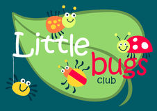 Little bugs club on a green leaf stock illustration