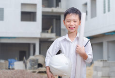Little builder with helmet smiling Royalty Free Stock Photos