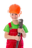 Little builder in helmet with wrench Royalty Free Stock Images