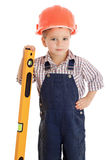 Little builder with liquid level Royalty Free Stock Photo