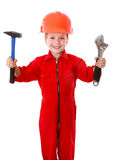 Little builder with wrench and hammer Royalty Free Stock Images