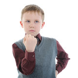 Little bully threatens fist Royalty Free Stock Photo