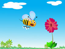 Little bumble bee. Vector art of happy bumble bee flying toward a large flower Stock Illustration