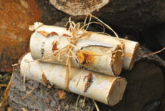 Little Bundle of White Birch. Small bundle of cut white birch surrounded by other cut wood Stock Photo