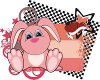 Little bunny baby cartoon card Royalty Free Stock Photo