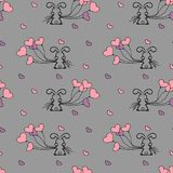 Little Bunny and balloons seamless pattern Stock Photo