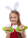 Little bunny chef with rabbit themed sandwiches Royalty Free Stock Image