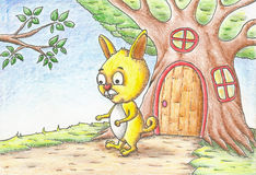 A little bunny drawn with color pencils Royalty Free Stock Photos
