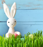 Little bunny and Easter eggs on green grass Royalty Free Stock Photo