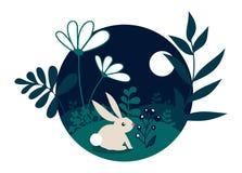 Little bunny in the forest in moon light. Little bunny in the forest with leafs and flowers at night moon light. Flat scene design vector illustration in cartoon royalty free illustration
