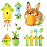 Little bunny and garden tools, nesting box, flowers.  watercolor illustration. Little bunny and garden tools. watercolor Stock Photo