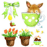 Little bunny and garden tools, nesting box, flowers.  watercolor illustration Stock Photos