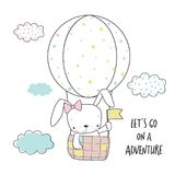 Little bunny in a hot air balloon. Cartoon vector illustration for kids. T-shirt graphic for kid`s clothing. Use for print design, surface design, fashion kids Royalty Free Stock Photo