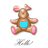 Little bunny soft toy first birthday greeting card Stock Images