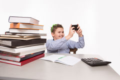 Little business boy making photos Stock Photography