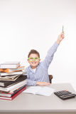 Little business boy showing success Royalty Free Stock Photography