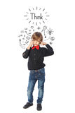 Little business boy thinking stock photos