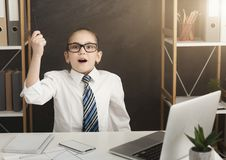 Little business girl have great idea in office royalty free stock image