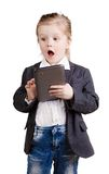 Little business girl with a tablet Stock Photo