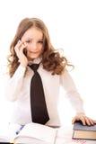 Little girl talking on phone Stock Image