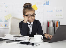 Little business girl working Stock Photography