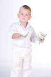 Little business man with money Royalty Free Stock Images